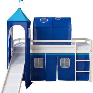 Kinderbed - Tienerbed - Kinderbedden - Peuterbed - Jongens - Meisjes - Modern - Wit - Grenen Hout - 207 cm x 97 cm x 110 cm