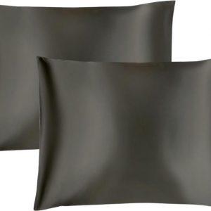 Maisson - Satijnen kussensloop - Beauty pillowcase - 60 x 70 cm - Set van 2 - Antraciet - Anti allergeen