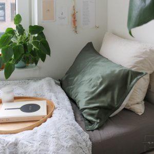 Mori Concept - Essential zijde kussensloop - 60x70 - Moss Groen - 100% Moerbei zijde Voorkant - Mulberry Silk Pillowcase