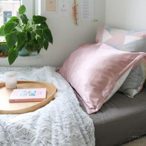 Mori Concept - Essential zijden kussensloop - 60x70 - Lichtroze - 100% Moerbei zijde Voorkant - Mulberry Silk Pillowcase
