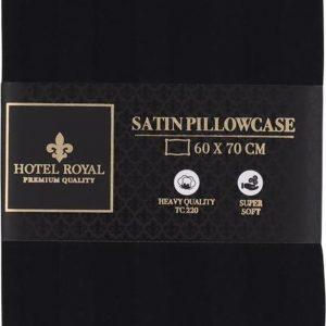 Satijnen Kussensloop - 60 x 70cm - Hotel Royal - Hotel Kussensloop - Luxe Kussensloop - Zwart