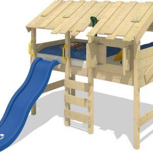 WICKEY Kinderbed, hoogslaper CrAzY Lagoon met blauwe glijbaan Houten bed 90 x 200 cm