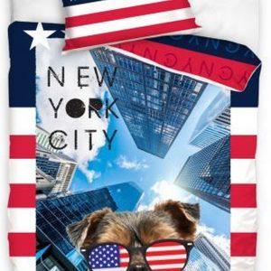 dekbedovertrek New York City 140 x 200 cm rood/wit/blauw